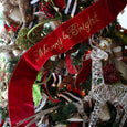 "Velvet wired banner w/ bright green dupion back & embroidery ""Merry & Bright"", hot red, 6X70 Inches"