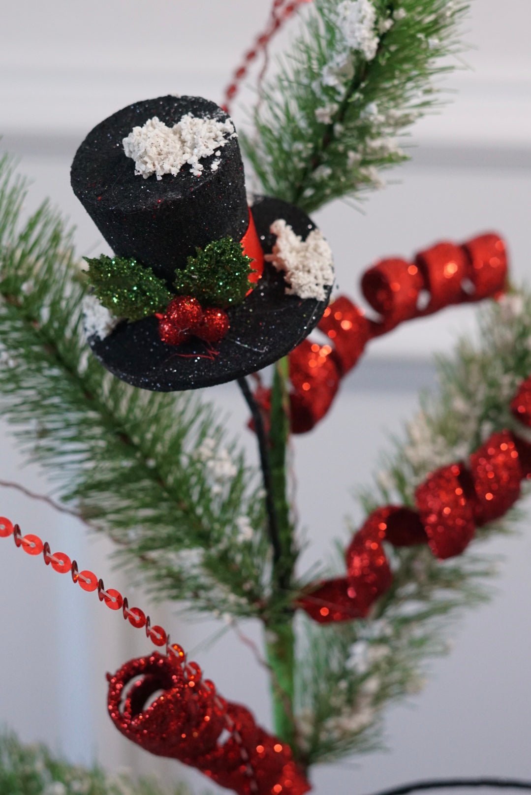 helloholidays,Snowman Hat Flocked Pine Spray,Liberty,Spray