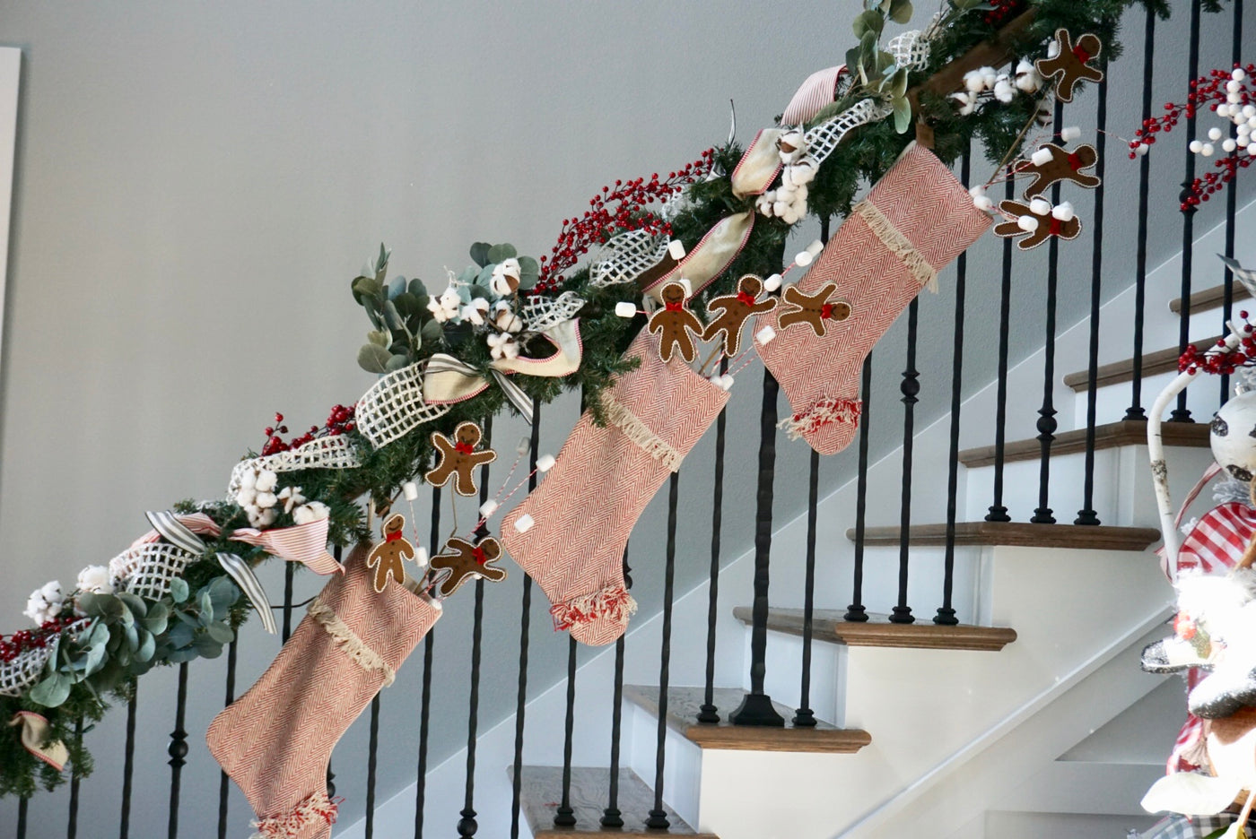 Red Cotton Woven Stocking