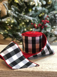 helloholidays - Double Sided Black Check Ribbon with Red Back - Farisilk - Ribbon