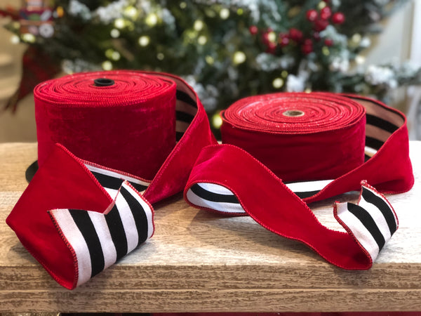 helloholidays,Red Velvet Ribbon with Black & White Stripe Canvas Back,dStevens,Ribbon