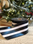 Black and White Foil Stripe Ribbon, Indoor/Outdoor