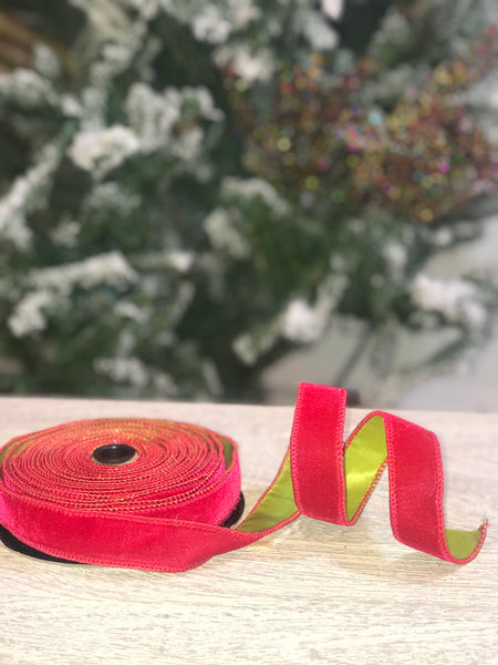 helloholidays,Hot Red Velvet Ribbon with Bright Green Taffeta Back,dStevens,Ribbon