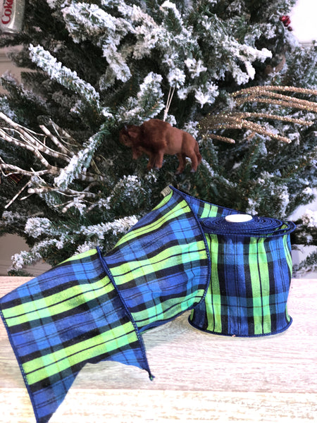 helloholidays - Blue Green Plaid Ribbon - Farisilk - Ribbon