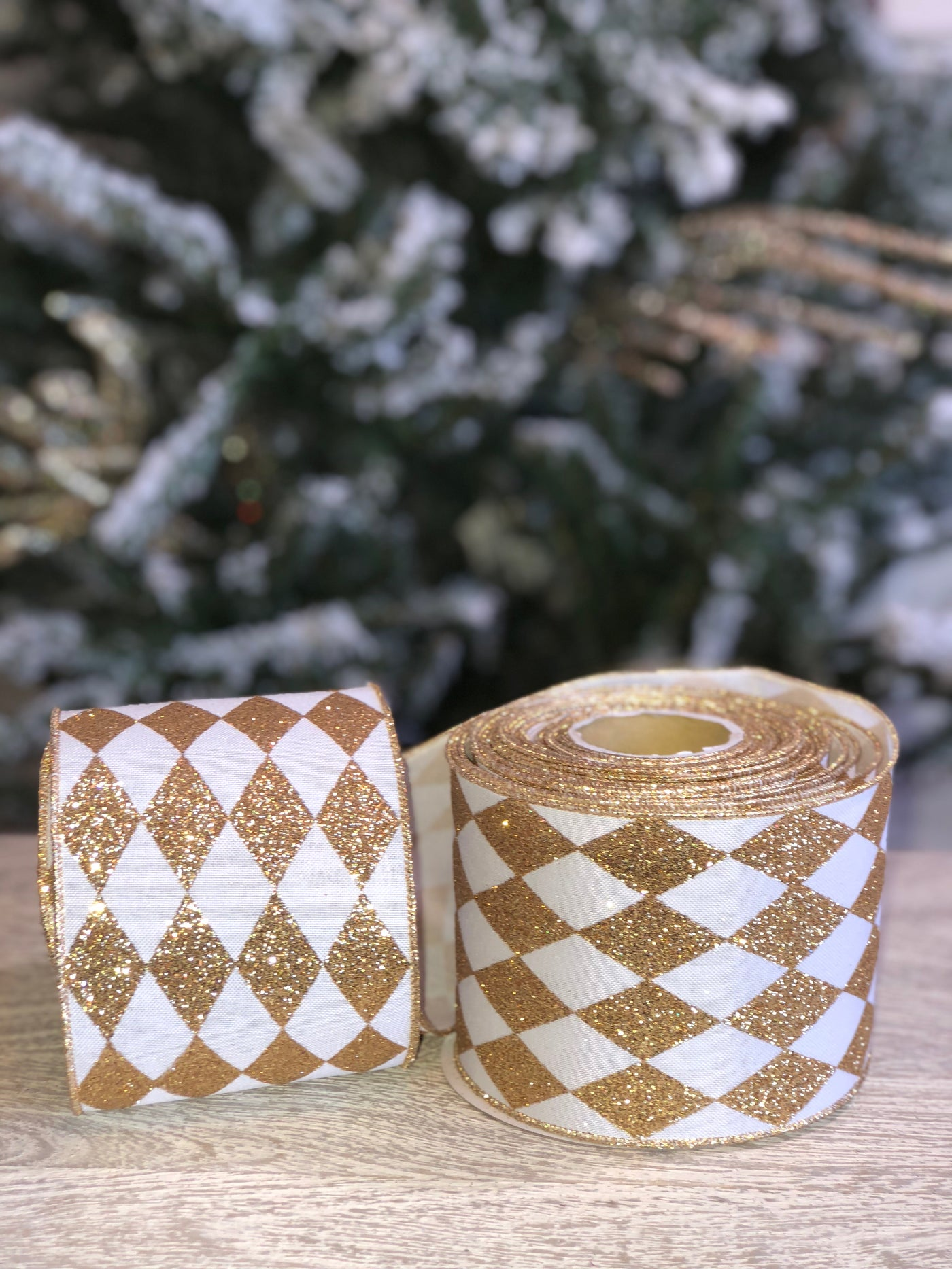 OUT OF STOCK!!!   Jester Gold and White Glitter Ribbon