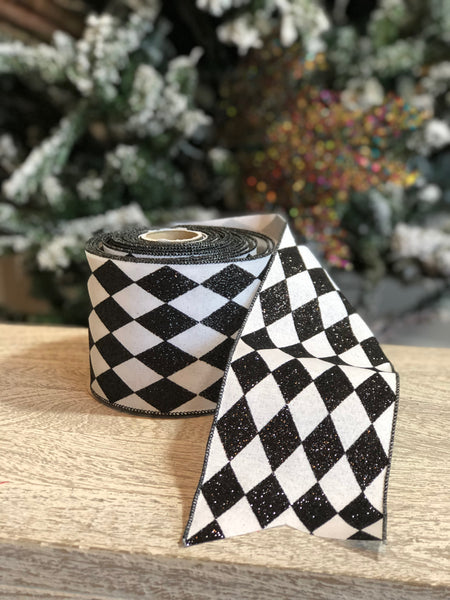 SOLD OUT!!!  Black & White Glitter Jester Diamond Ribbon