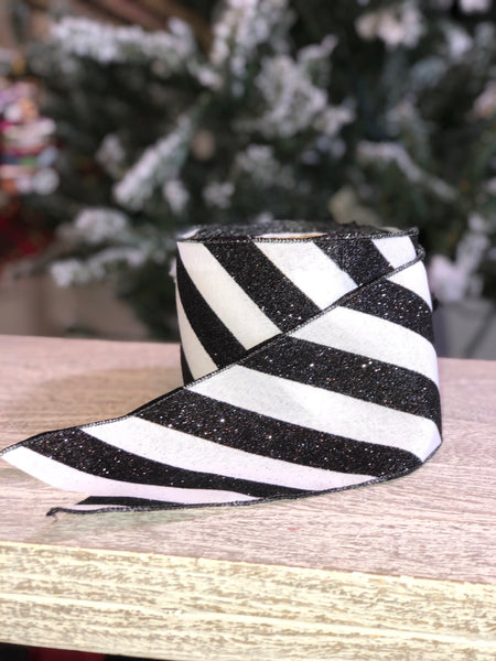 helloholidays - Glitter Stripe Ribbon, Black/White - Farisilk - Ribbon