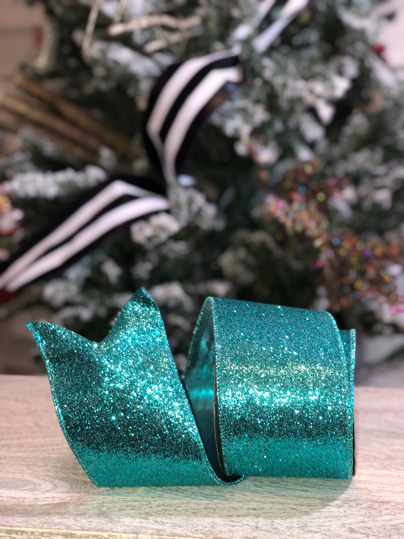 Turquoise Glitter Ribbon with Satin Back