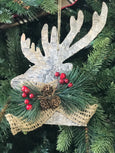 Frosted Wood Hanging Deer Head Profile, 12 Inches