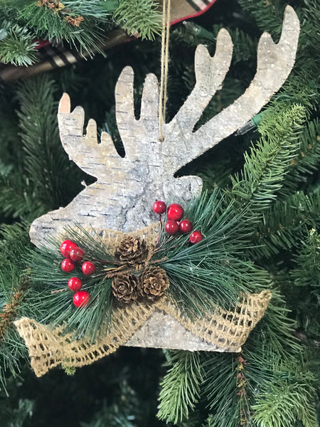 helloholidays - Frosted Wood Hanging Deer Head Profile, 12 Inches - Renaissance 2000 - Ornament