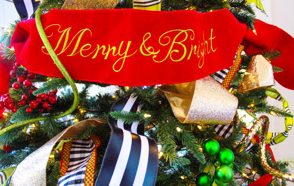 "helloholidays,Velvet wired banner w/ bright green dupion back & embroidery ""Merry & Bright"", hot red, 6X70 Inches,Select,Christmas Decoration"