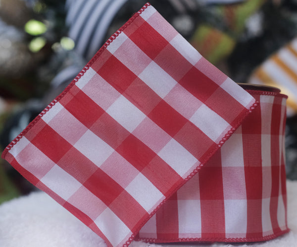 helloholidays,Red & White Check Ribbon,Farrisilk,Ribbon