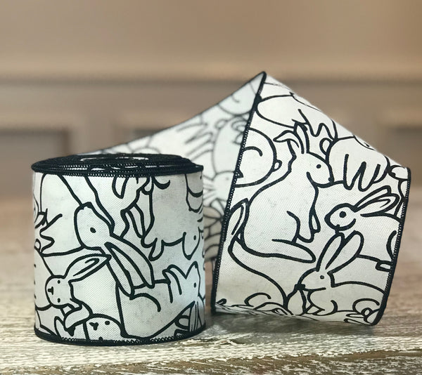 Black & White Linen Ribbon with Rabbits
