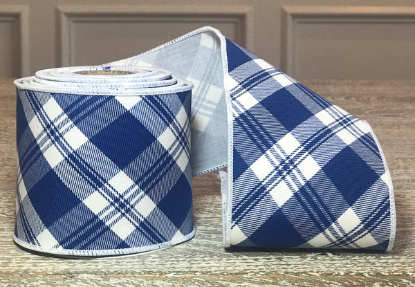 Royal Blue and White Plaid Ribbon
