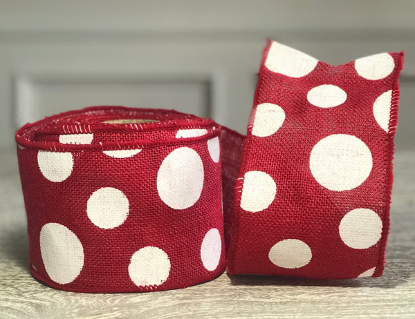 Red Burlap Ribbon with White Dots