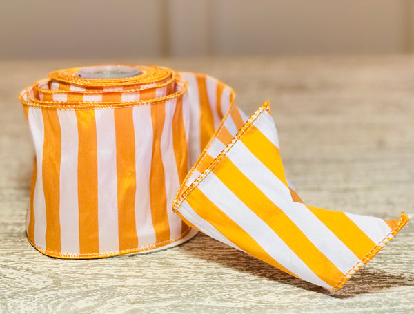 Yellow Gold & White Taffeta Stripe Ribbon