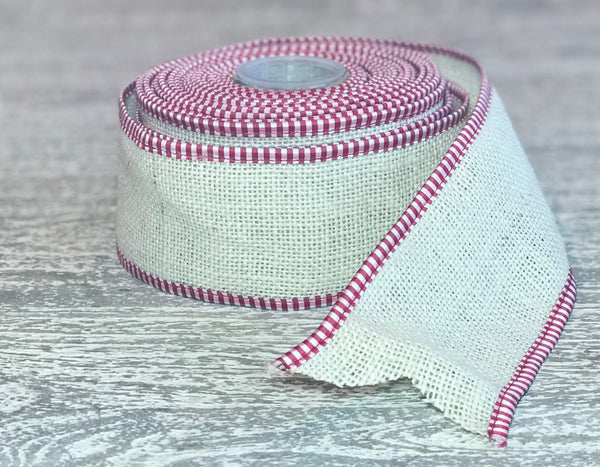 Ivory Burlap Ribbon with Red & White Checked Edges