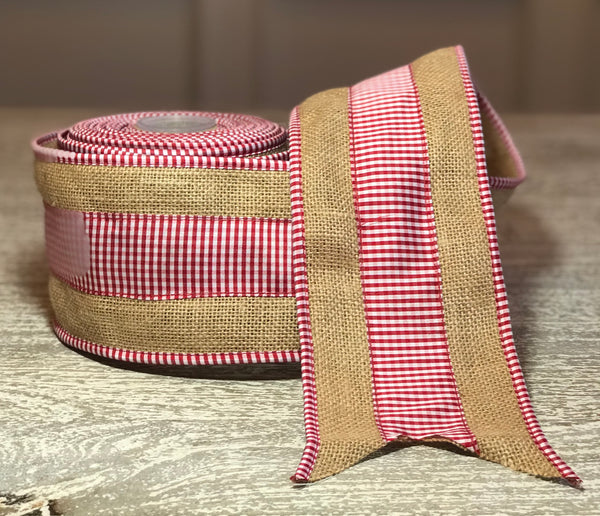 Burlap Ribbon with Red & White Gingham