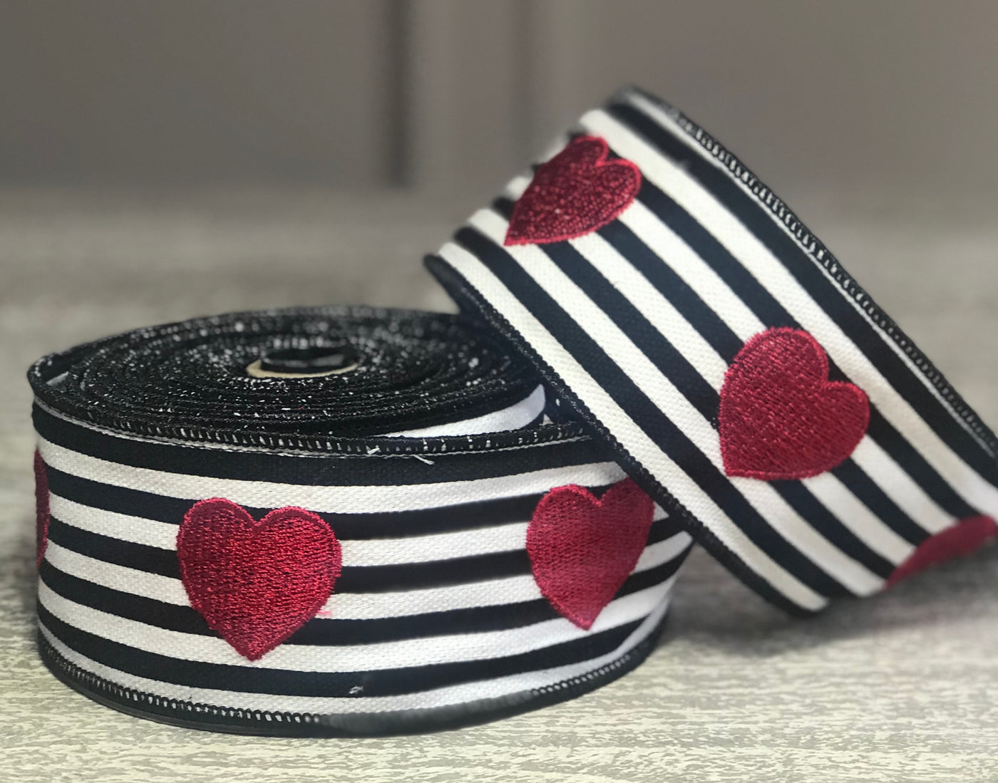 Black and White Canvas Stripe w/ Embroidery Red Hearts