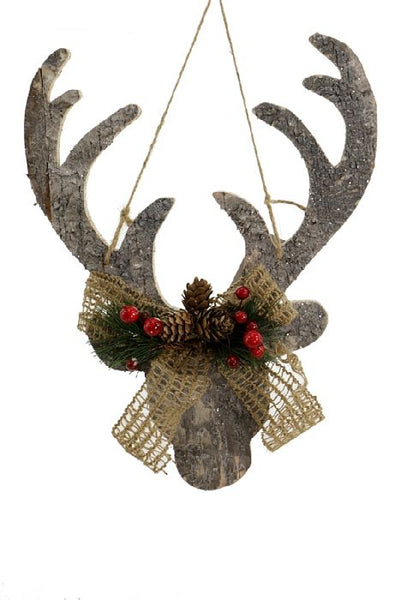 Frosted Wood Hanging Deer Head, 12 Inches