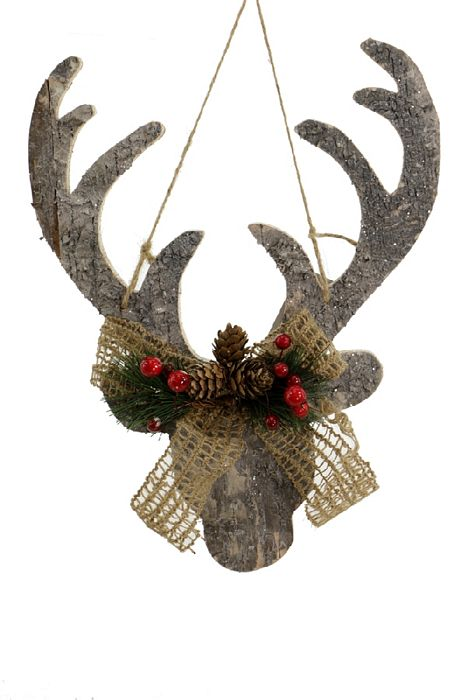 helloholidays - Frosted Wood Hanging Deer Head, 12 Inches - Renaissance 2000 - Ornament