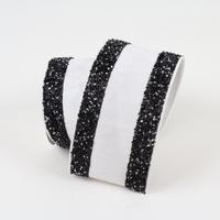 White and Black Tinsel Ribbon