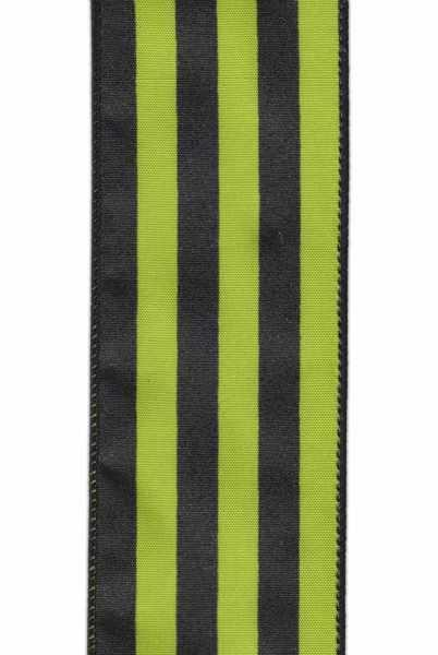 Satin stripe ribbon, black/green, 2.5' X 10 YD