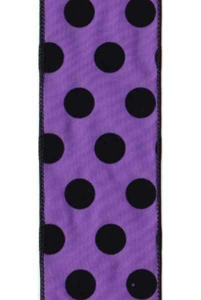 Satin flocked purple ribbon with black dots