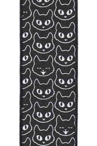 Linen Cat Head Ribbon, black/white