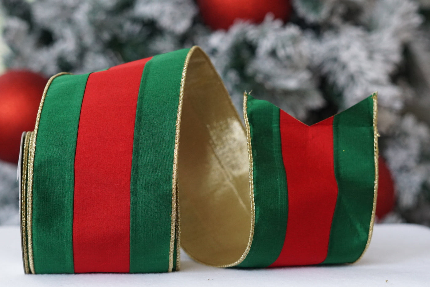 helloholidays,Green & Red Stripe with Gold Edges and Gold Back,Farrisilk,Ribbon