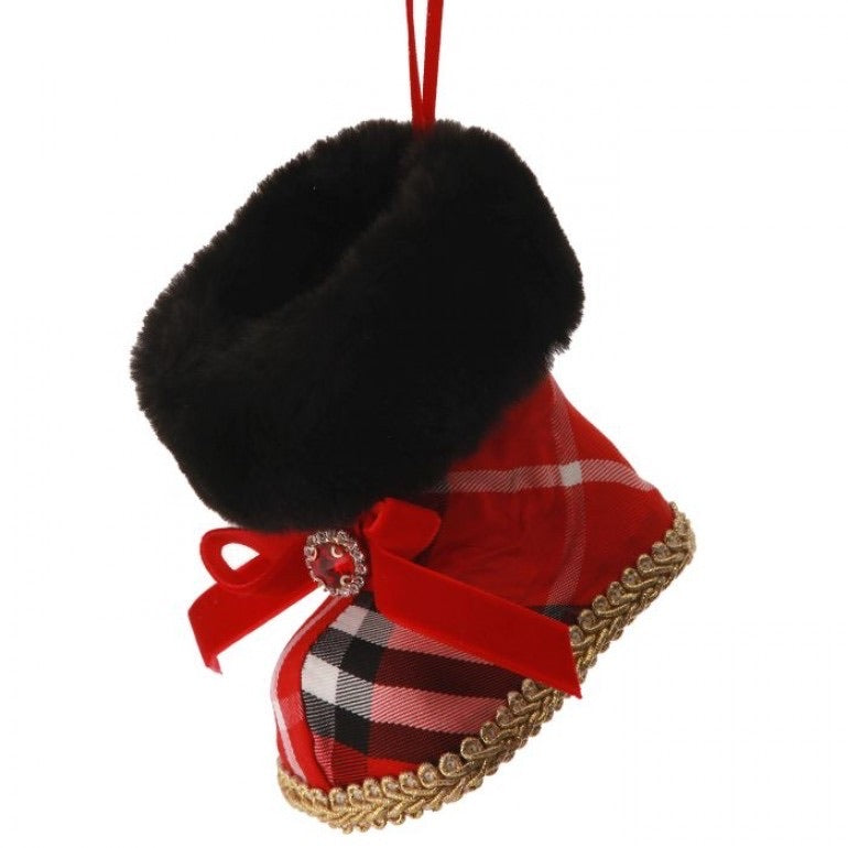 helloholidays,Plaid Fur Boot Ornament,Regency,Ornament.