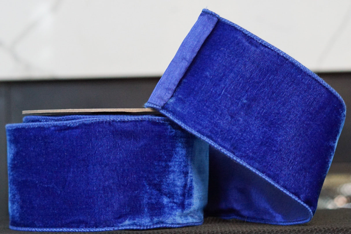 helloholidays,Royal Blue Velvet with Blue Satin Back,Farrisilk,Ribbon.