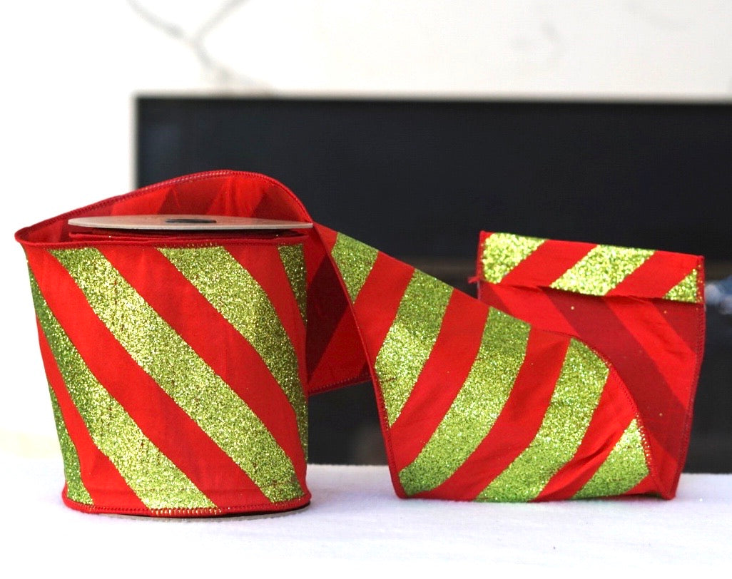 helloholidays,Glitter Diagonal Stripe Bright Green and Red-Extra Wide,D.Stevens,Ribbon