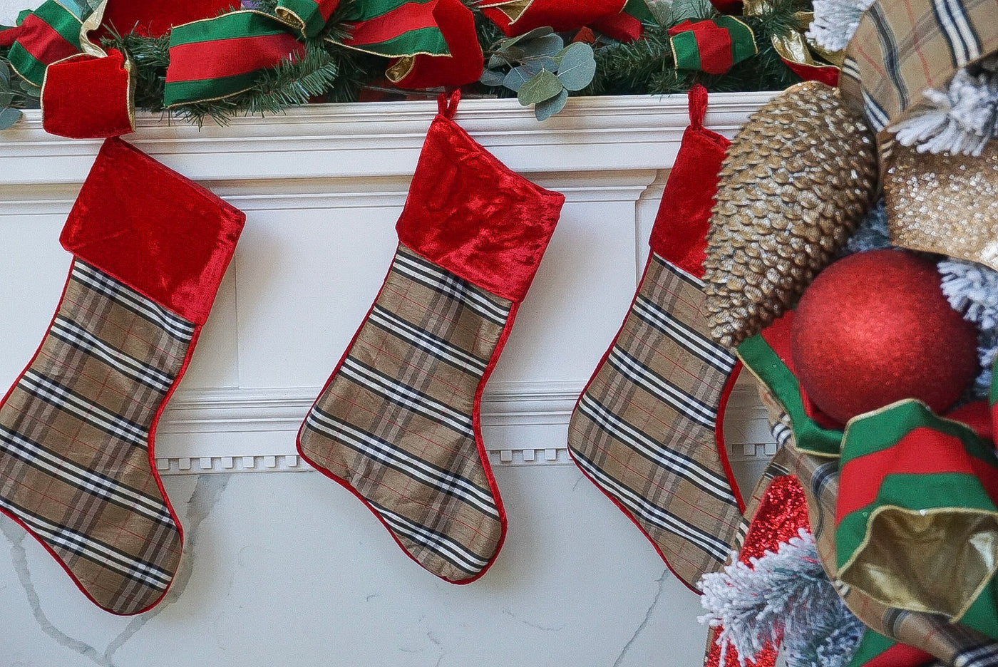 helloholidays,Tan Tartan Plaid Stocking with Red Velvet Cuff,Farrisilk,Stocking