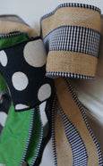 Burlap Ribbon with Black & White Gingham