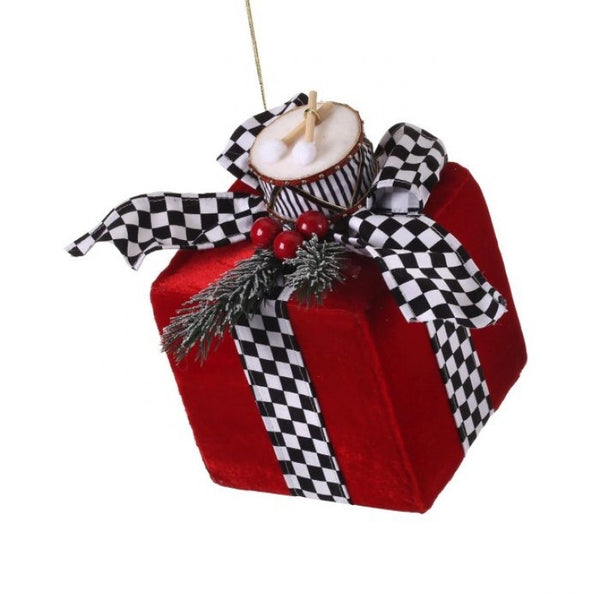 helloholidays,Large Red Velvet Package Ornament with Drum,Regency,Ornament.