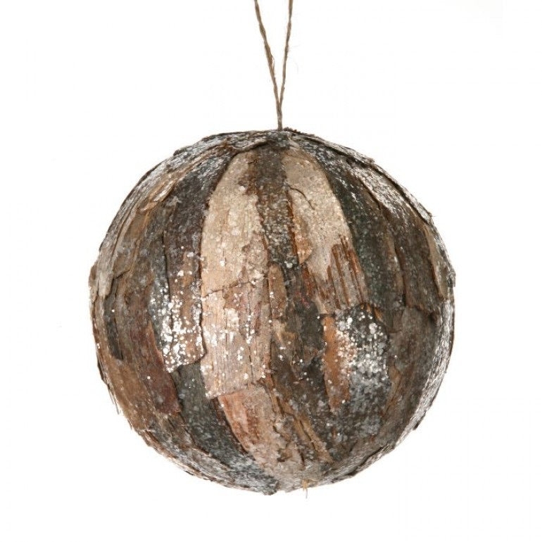 helloholidays,Frosted Natural Wood/Bark Ball Ornament,Regency,Ball, ornament.