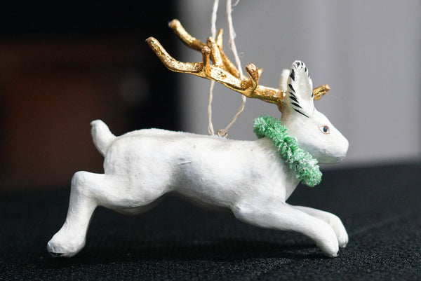 helloholidays,Jackalope with Goldleaf Antler Ornament,Cody Foster,Ornament.