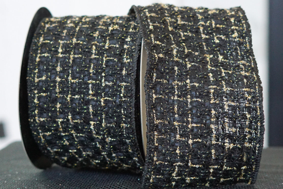 Black Boucle with Metallic Thread