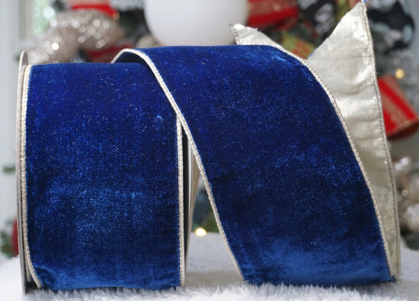 helloholidays,Back Ordered Royal Blue Velvet Ribbon with Silver Satin Back,Farrisilk,Ribbon