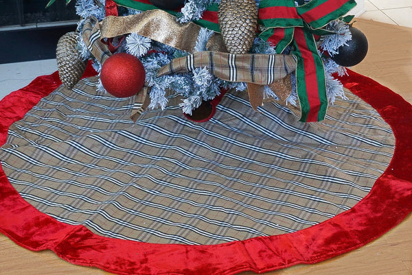 helloholidays,Tartan Plaid Tree Skirt with Red Velvet Trim,Farrisilk,Christmas Tree Skirt