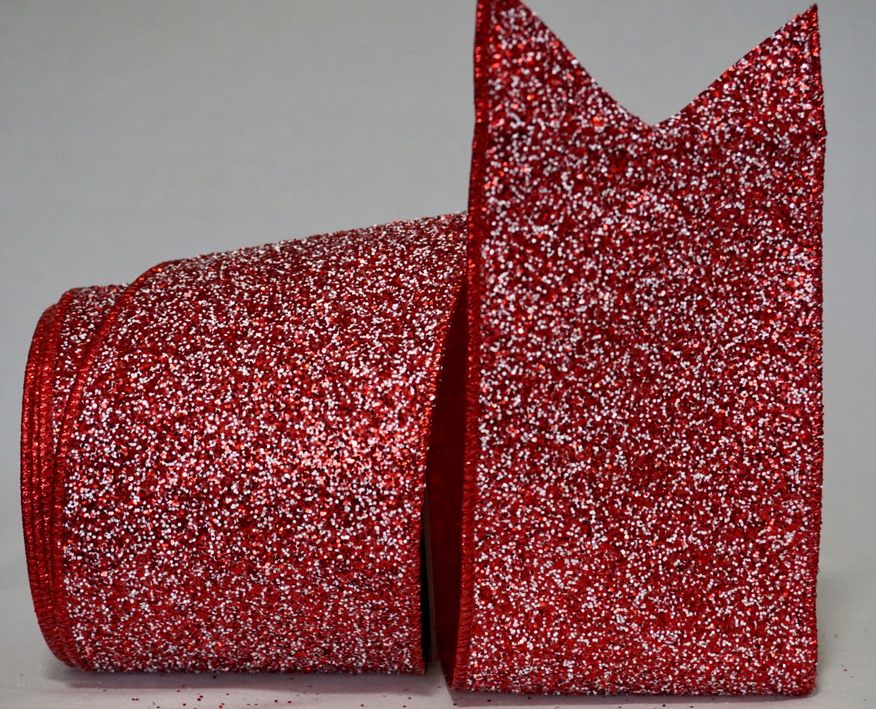 Red White Glitter Ribbon