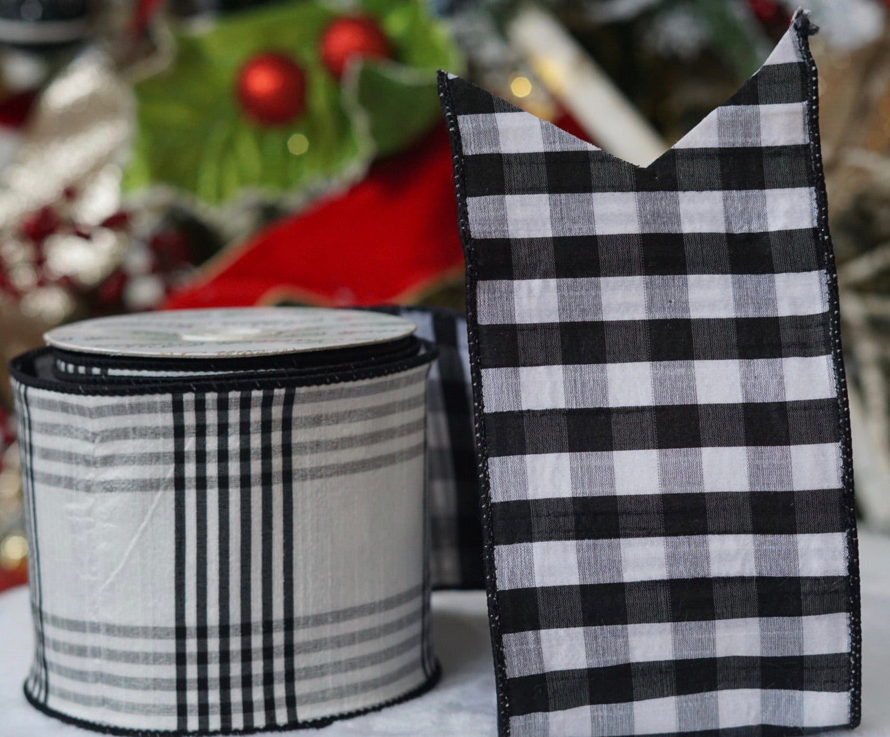 helloholidays,Black and White Gingham/Plaid Ribbon,Farrisilk,Ribbon