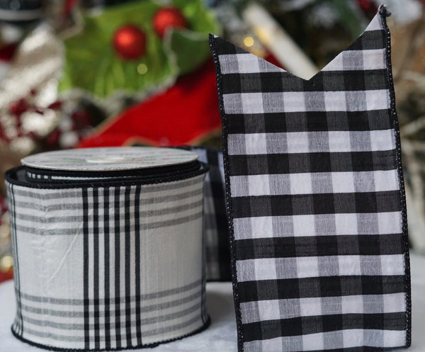 Black and White Gingham/Plaid Ribbon