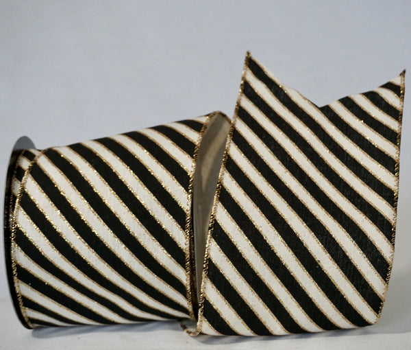 LIMITED STOCK Gold & Black/White Diagonal Stripe Ribbon