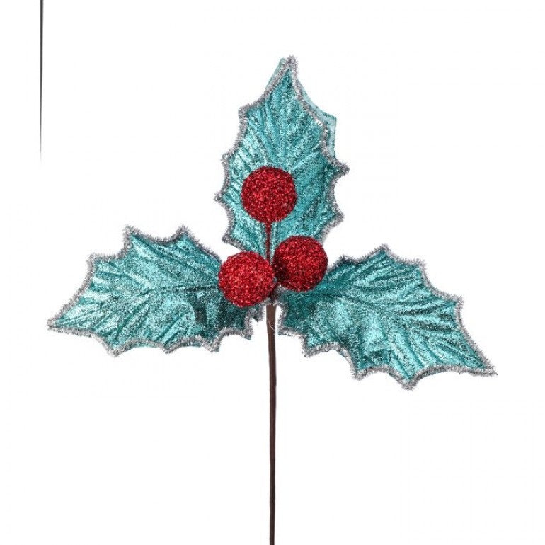 helloholidays,Blue Glitter Holly Berry Pick,Regency,Pick