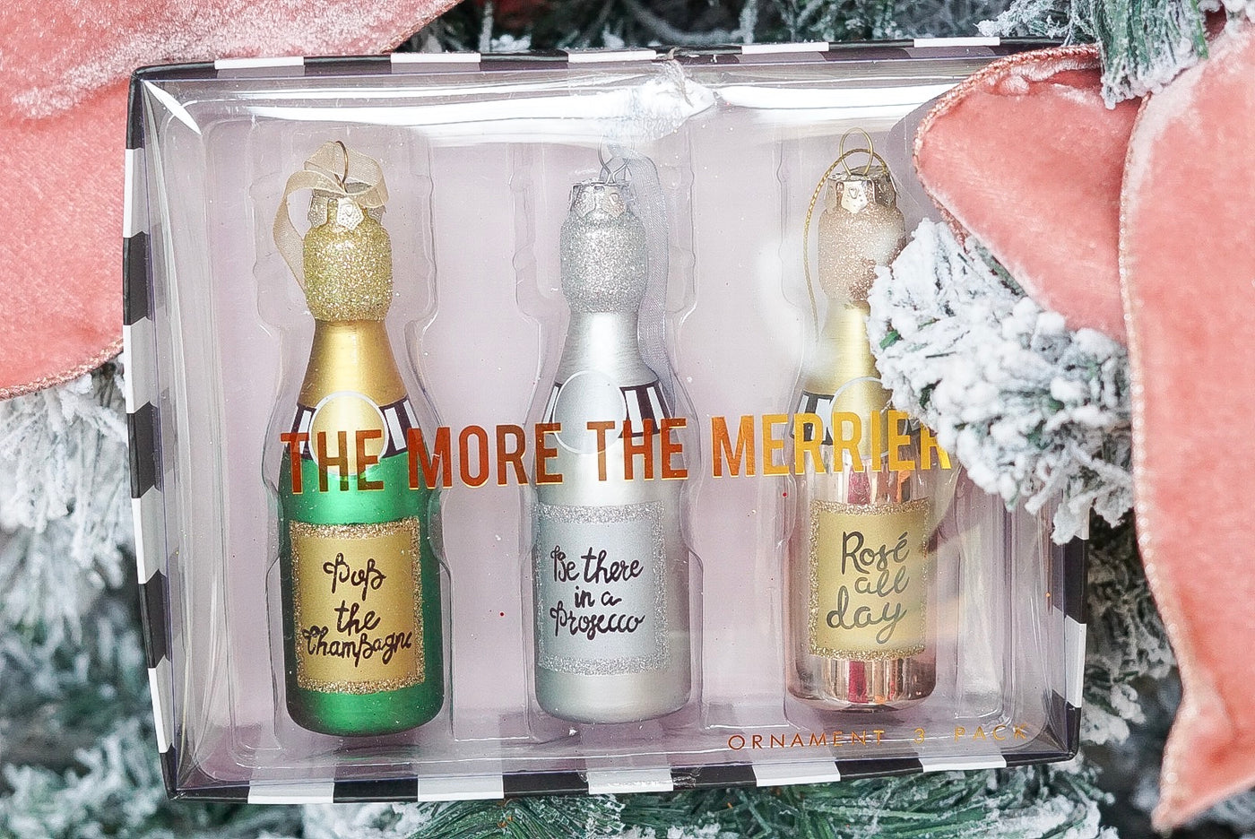 The More the Merrier Champagne Ornament Set