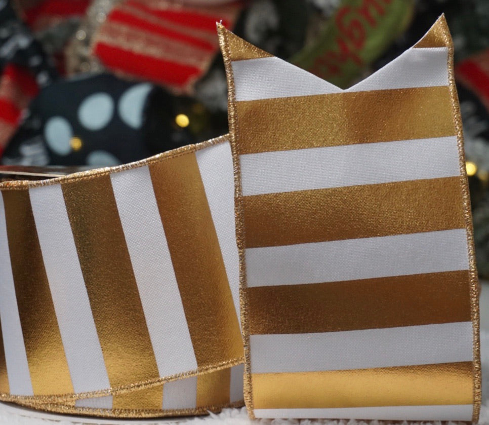 Gold & White Striped Vinyl Ribbon (indoor/outdoor)