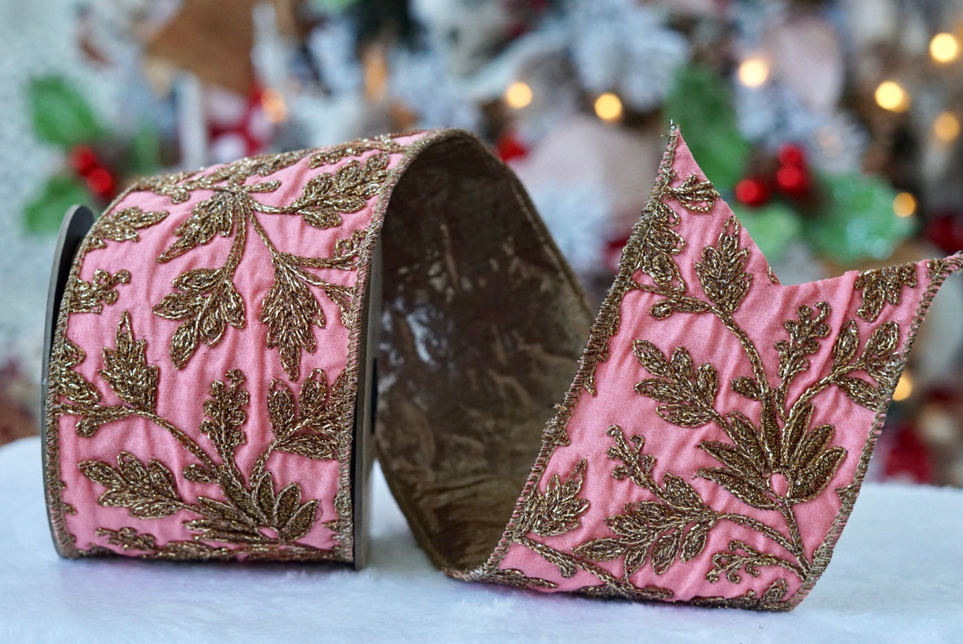 helloholidays,Embroidered Gold Floral on Coral Pink Metallic with Gold Back,dStevens,Ribbon