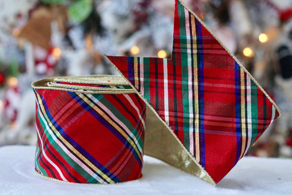 Nutcracker Plaid Ribbon with Gold Back